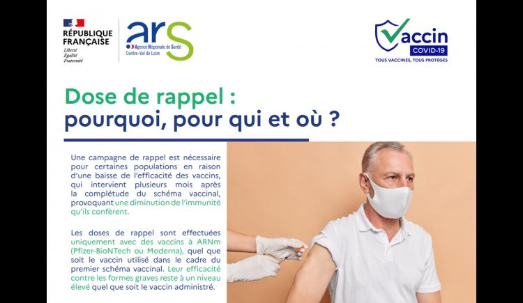 photo Information de l'ARS (Agence Régionale de Santé) - Dose de rappel, pourquoi, pour qui et où ?