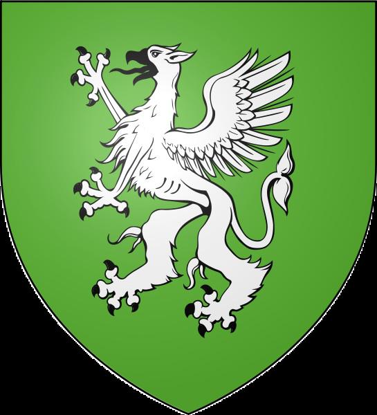 De sinople au Griffon d'Argent : Blason de la commune de Hanches